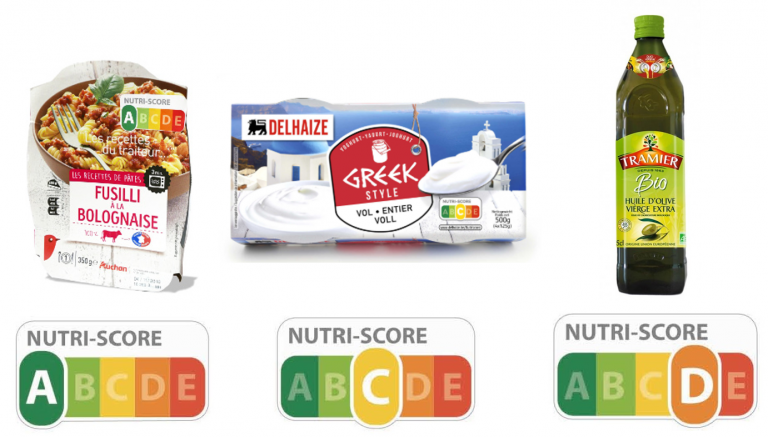 Uma embalagem de massa, iogurte e azeite avaliadas mediante os critérios da NutriScore